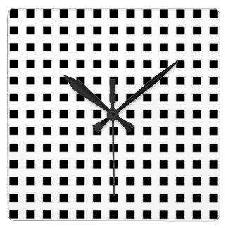 Relógio Quadrado Mini quadrados pretos brancos