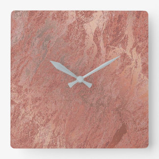 Relógio Quadrado Mínimo de mármore coral metálico do ouro