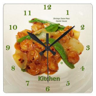 Relógio Quadrado Molho da ostra das ervilhas frescas dos camarões,