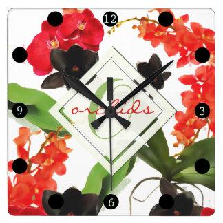 Relógio Quadrado Monograma preto e vermelho da aguarela da arte das