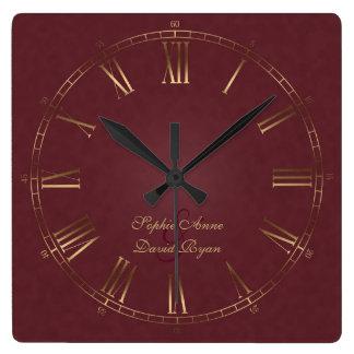 Relógio Quadrado Monograma real do numeral romano de Borgonha do