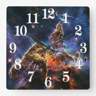 Relógio Quadrado Montanha místico na NASA do espaço