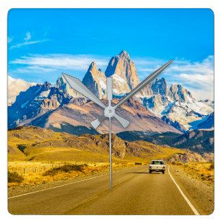 Relógio Quadrado Montanhas nevado de Andes, EL Chalten, Argentina