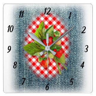 Relógio Quadrado Morangos, sarja de Nimes e país vermelho do