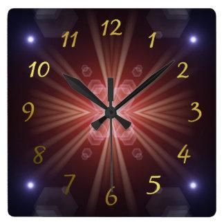 Relógio Quadrado muito sol pequeno colorido, luzes