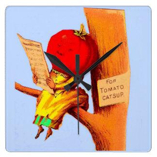 Relógio Quadrado Mulher de comércio da cabeça do tomate do cartão