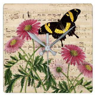 Relógio Quadrado Música da borboleta da margarida