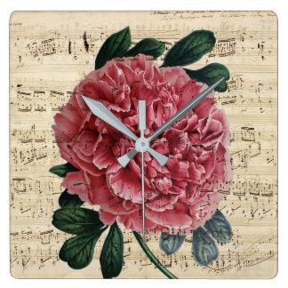 Relógio Quadrado Música vermelha da peônia