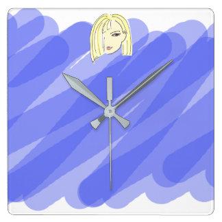 Relógio Quadrado Na moda azul do borrão do retrato louro dos