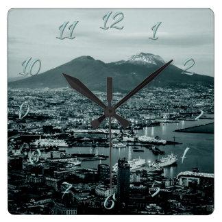 Relógio Quadrado Nápoles o Vesúvio