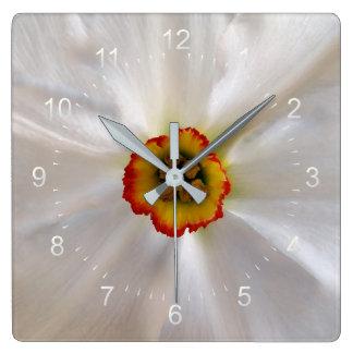 Relógio Quadrado narciso do branco da pérola