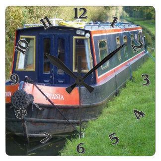 Relógio Quadrado Narrowboat no sistema britânico dos cursos