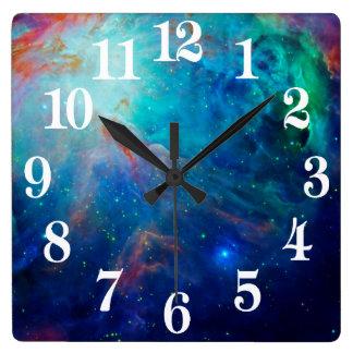 Relógio Quadrado NASA cintilante do azul da nebulosa de Orion