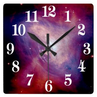 Relógio Quadrado NASA da nebulosa de caranguejo de Chandra