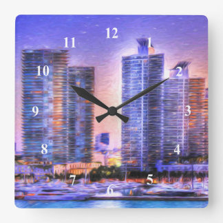 Relógio Quadrado Nascer do sol vibrante da skyline de Miami