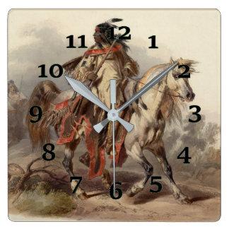 Relógio Quadrado Nativo americano em Howseback