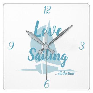 Relógio Quadrado Navigação do amor do azul de oceano