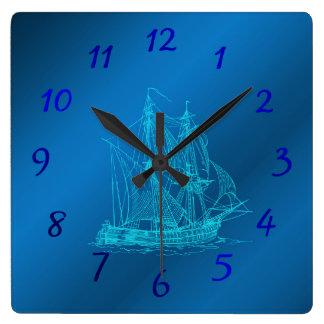 Relógio Quadrado navio em relógios azuis