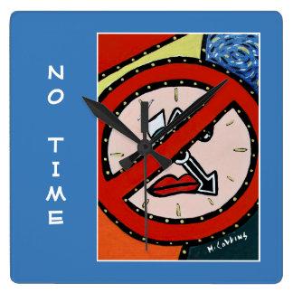 Relógio Quadrado Nenhuma hora no azul