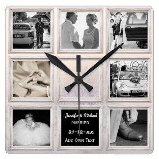 Relógio Quadrado Neve da colagem ou do aniversário da foto do