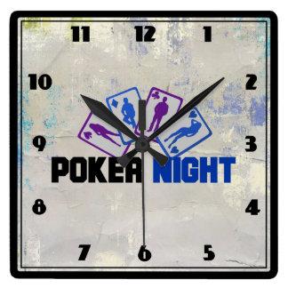 Relógio Quadrado Noite do póquer com o cartão de jogo em azul e em