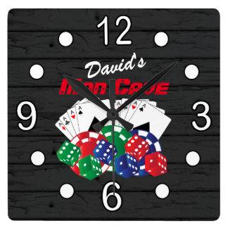 Relógio Quadrado Noite do póquer na caverna do homem