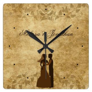Relógio Quadrado Noivo de papel da noiva do vintage que Wedding uma