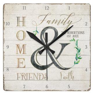 Relógio Quadrado Nome de família Home de madeira dos amigos de