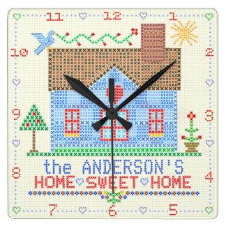 Relógio Quadrado Nome de família transversal Home doce Home da casa