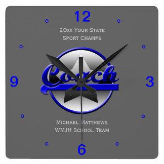 Relógio Quadrado Nome do treinador da estrela azul e pulso de