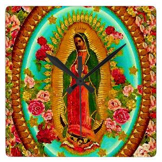 Relógio Quadrado Nossa Virgem Maria mexicana do santo da senhora