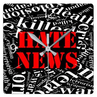 Relógio Quadrado Notícia do ódio