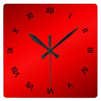 Relógio Quadrado Numerais romanos do preto vermelho do brilho