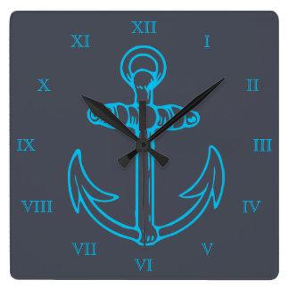 Relógio Quadrado Numerais romanos navio ou barco da âncora azul
