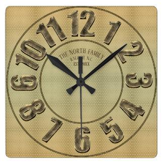 Relógio Quadrado Número w/Name do metal do ouro grande