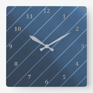 Relógio Quadrado Números azuis da meia-noite das cinzas da listra