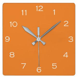 Relógio Quadrado Números brancos no pulso de disparo de parede