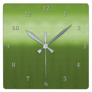 Relógio Quadrado Números Chartreuse das cinzas do inclinação do
