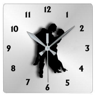 Relógio Quadrado Números da silhueta doze dos dançarinos do tango