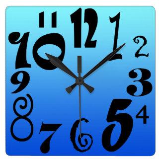 Relógio Quadrado Números funky do divertimento - inclinação azul