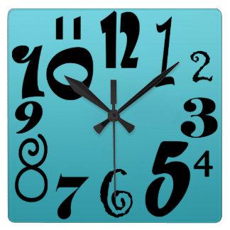 Relógio Quadrado Números funky do divertimento - inclinação do azul