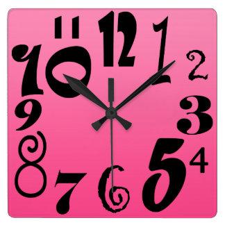 Relógio Quadrado Números funky do divertimento - inclinação do rosa
