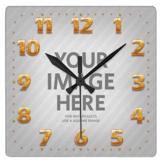 Relógio Quadrado Números quadrados personalizados do ouro da foto