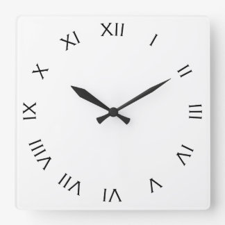 Relógio Quadrado Números romanos pretos no pulso de disparo de