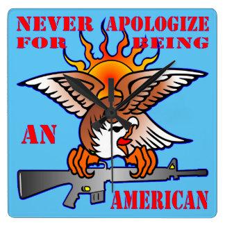 Relógio Quadrado Nunca desculpa-se sendo um AR15 americano M16