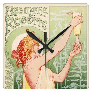 Relógio Quadrado O absinto Robette - poster vintage do álcool