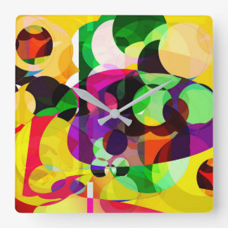 Relógio Quadrado O abstrato colore o pulso de disparo de parede
