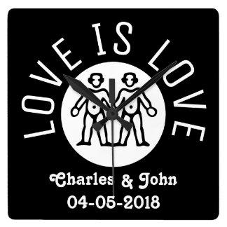 Relógio Quadrado O amor é branco preto do orgulho gay LGBT da