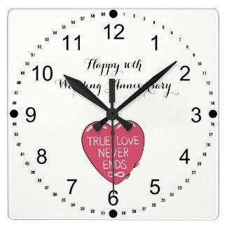 Relógio Quadrado O amor verdadeiro nunca termina o 10o aniversário