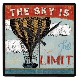 Relógio Quadrado O céu do balão de ar quente é as citações do